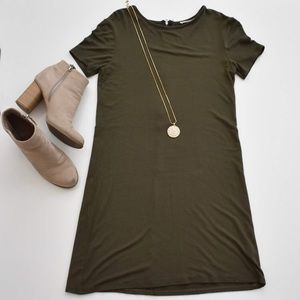 Dresses & Skirts - Olive Fitted T-Shirt Dress